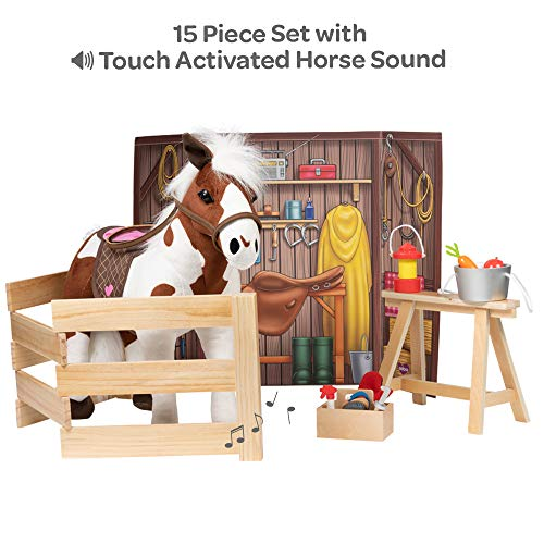 "Adora Amazing World ""Plush Horse with 1 Sound Effect, Saddle, Harness & Wooden Stable Play Set"" – 15 Piece Set for 18"" Dolls [Amazon Exclusive]"