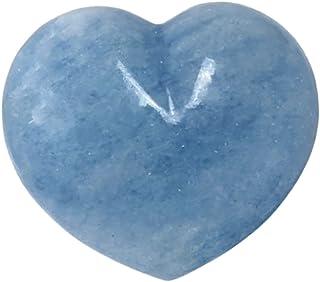 Eusice - Cœur Calcite bleue Pierre de chakra et guérison, Pierre de paume, Pierre polie, Pierre de bien-être et lithothéra...