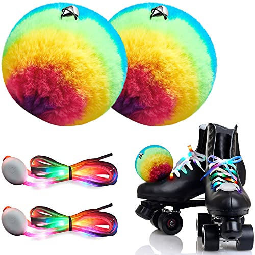 2 Stück Rollschuh-Pompoms flauschige Bommeln zum Binden von Skaten, Regenbogen-Pompoms mit Glöckchen, 2 Stück LED-Schnürsenkel, leuchten im Dunkeln, mehrfarbig blinkende Schnürsenkel für Skate