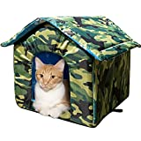 Cat House with Waterproof Canvas Roof, Thickened Cold-Proof Nest Kitty Shelter, Feral Cat Cave Pet House, Cat Dog Tent Cabin for Small Pet Indoor Outdoor (Camouflage, L (Under 13.2lb.)