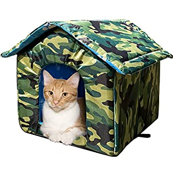 Cat House with Waterproof Canvas Roof Thickened Cold-Proof Nest Kitty Shelter Feral Cat Cave Pet House Cat Dog Tent Cabin for Small Pet Indoor Outdoor  Camouflage L  Under 13.2lb