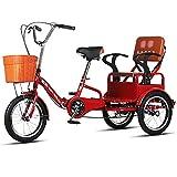 Triciclo de carga Triciclos para adultos Bicicleta Triciclo plegable Bicicleta de tres ruedas Bicicleta de 16 pulgadas y 3 ruedas Cesta de carga para picnic, compras, trabajo, hombres y mujeres (Colo
