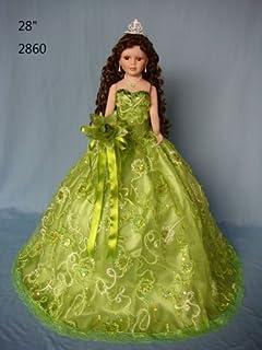 "Jmisa 28"" Umbrella Porcelain Dolls Quince Anos Green"