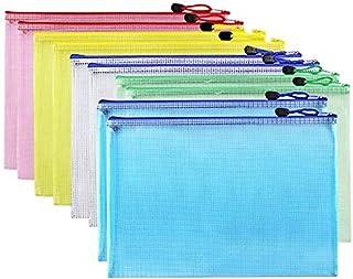 10pcs Zip File Folder Mesh Document Bag Zipper Storage Pouch, A4 Letter Size, Travel Office Supplies, 5 Colors