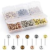 Grtard 420pcs Push Pins Push Pins for Cork Board Map Pins Decorative Push Pins 1/8-Inch Multicolor Head Marking Pins 6 Colors