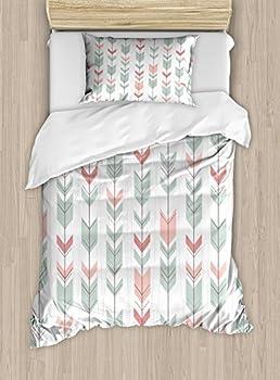 Lunarable Arrow Duvet Cover Set Retro Style Pattern with Pastel Colors Peruvian Vintage Art Motifs Decorative 2 Piece Bedding Set with 1 Pillow Sham Twin Size Green Peach