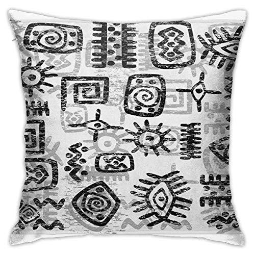 Qian Mu888 Funda de almohada de estilo grunge con símbolos africanos antiguos geométricos con estampado étnico, funda de almohada suave