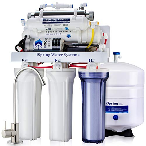 iSpring RCC1UP 6-Stage 100 GPD Under Sink Reverse Osmosis Drinking Water Filtration System With Booster Pump and UV Ultraviolet Filter