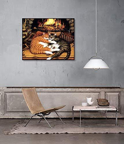 wojinbao DIY Digitale Malerei-Adult's Paint von Number Kits-Kamin schlafende Katze Paint von Numberson Canvas Geschenk für Erwachsene und Kinder Geburtstag Hochzeit(50x70cmKein Rahmen)