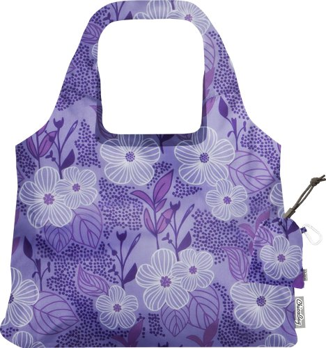ChicoBag VITA Purple Blooms Designer Compact Reusable Shopping Tote with Attached Pouch and Carabiner Clip - Bliss