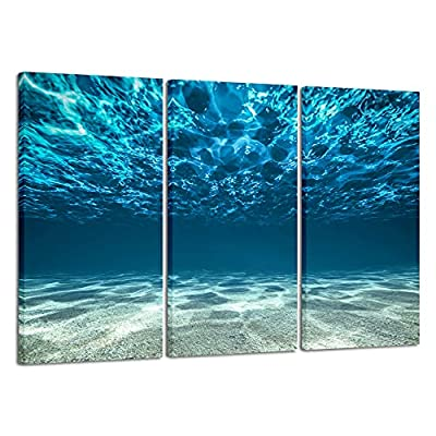 Wieco Art Blue Ocean Bottom Large Canvas Wall Art for Living Room Beach Theme for Bedroom Wall Decor Seaview Pictures Painting On Canvas Modern Giclee Canvas Prints Artwork for Home Decorations