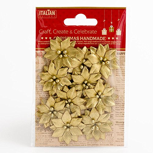 3.5cm Small Metallic Gold Poinsettia Christmas Flower Card Making Craft Decorations (Pack of 10)