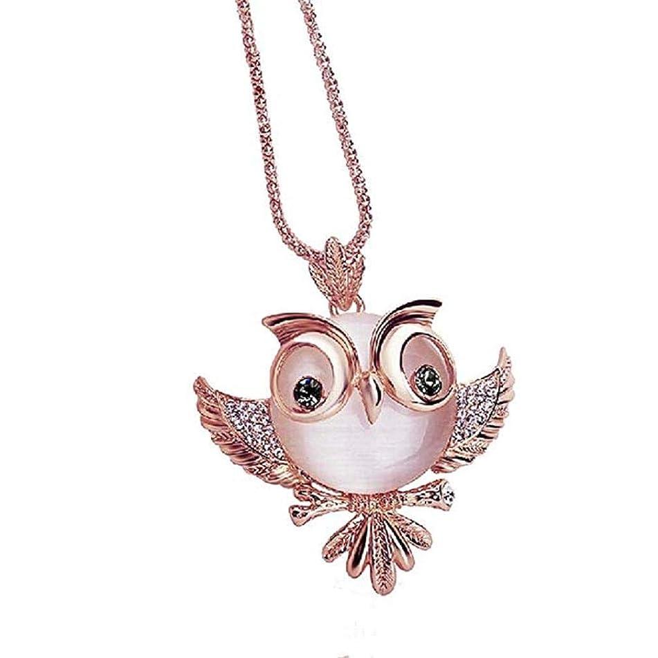 Noopvan Fashion Women Elegant Diamond Zirconia Crystal Necklace,Han Shi Retro Antique Alloy Owl Rhinestone Jewelry Sweater Chians (Rose Gold)