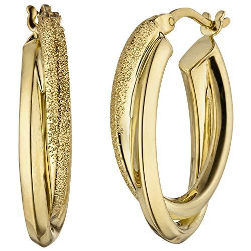 JOBO Pendientes de aro ovalados para mujer, plata de ley 925, dorados mate