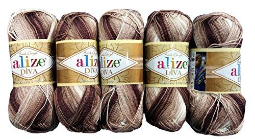 Alize 5 x 100 Gramm Batik Wolle Mehrfarbig mit Farbverlauf, 500 Gramm merzerisierte Strickwolle Microfiber-Acryl (braun beige weiß 1815)