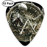 Gear Skull Guitar Pick Set Guitarra Bajo Mandolin Ukulele 0.46mm 0.71mm 0.96mm 12 Pack Guitar Picks Plectrums Con Picks Holder