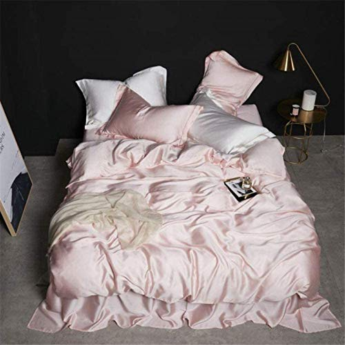 Duvet Cover, Bedding Set King,Women 100% Silk Yellow Bedding Set Best for Skin Care Quilt Cover Healthy Flat Sheet Pillwocase Queen King Bed Linen