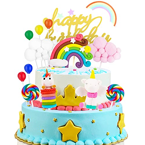 Unicornio Decoración de Tartas, joylink Unicorn Cake Topper Decoracion Unicornio Cake con Arcoiris y Globo Cumpleaños Decoración de La Torta del Banquete de Boda (13Piezas)