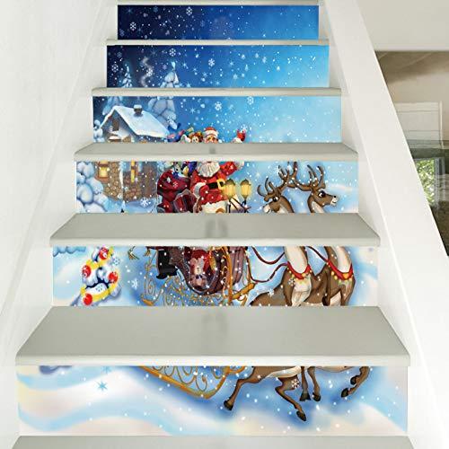 Pegatinas de pared para escalera, diseño de Papá Noel, para escaleras, PVC, impermeable, papel pintado de personalidad, creativo, 39,3 x 7 x 6 unidades
