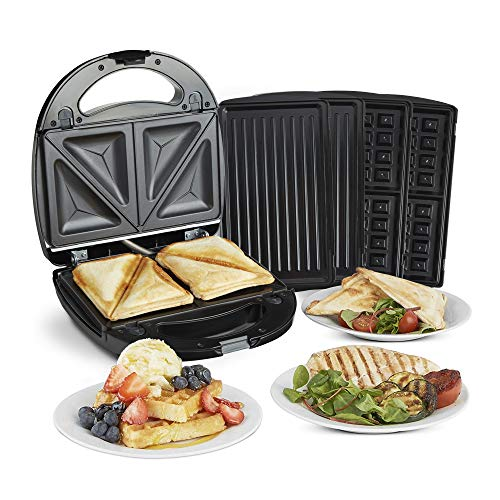 VonShef 3-in-1 Sandwich Toaster, Waffle Maker & Grill, for Toasties, Paninis, Snacks & More, Non-Stick Interchangeable Plates, Compact Size – Black 700W
