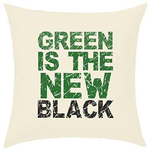 Custodia di Cuscino Ecru 40x 40cm stampata, 100% cotone–Green Is The New Black