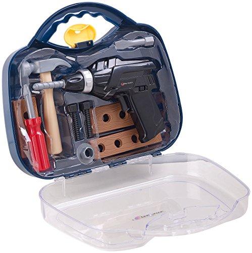 Playtastic Kinderwerkzeug: Kinder-Werkzeugkoffer, 11-teilig mit Batterie-Bohrmaschine & Zubehör (Kinder Werkzeug Sets)