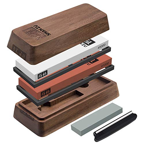 SHAN ZU Whetstone Knife with Storage Box Sharpening Stone 2 Pieces Knife...