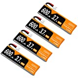 4pcs 600mAh 1S 3.7V LiPo Battery 50C JST-PH 2.0 PowerWhoop mCPX Connector Rechargeable 1S LiPo Battery for Inductrix FPV Plus Tiny Whoop FPV Racing Drone