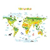 Decowall DLT-1715 Geological World Map with Animals Kids Wall Stickers Wall Decals Peel and Stick Removable Wall Stickers for Kids Nursery Bedroom Living Room (XLarge)