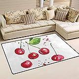 Seily - Felpudo de acuarela de tela de poliéster de la alfombra de cereza de la moqueta del suelo antideslizante para la habitación del salón