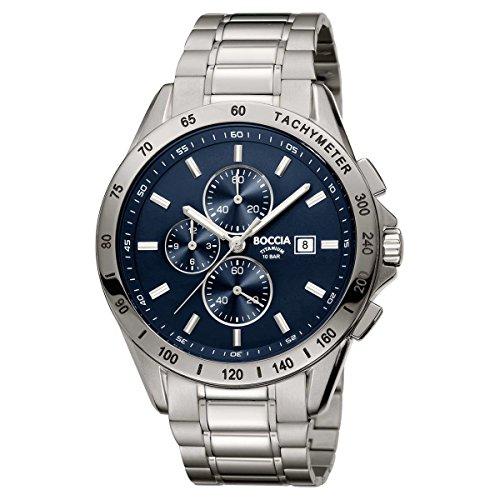 Boccia Herren Chronograph Quarz Uhr mit Titan Armband 3751-01