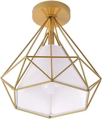 Artpad Vintage Loft Lampade a soffitto LED E27 (lampadina non inclusa), Illuminazione a soffitto per interni, Paralume in gabbia in metallo dorato, 220 V per camera da letto, ristorante, hotel, studio