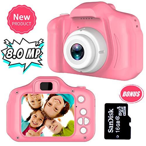 Regalos para 3-8 Años de Edad Chicas Joy-Fun Cámara Fotos Digital 8.0 MP Camara de Fotos para Niños Vídeo Grabar Electrónico Juguete Regalos de Cumpleanos Rosa