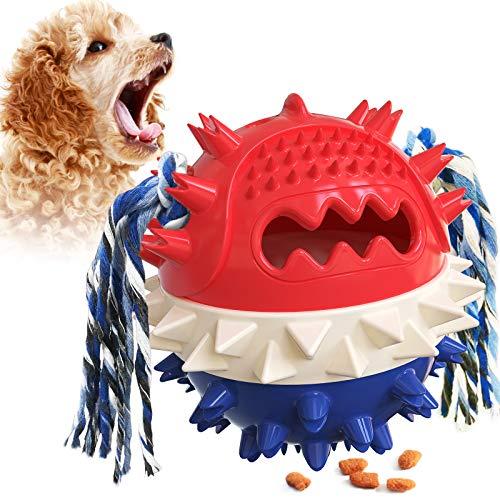CHSDN Cepillos de dientes para perros, juguete para masticar, dispensador de pienso, cepillos de cuidado dental de caucho natural para perros