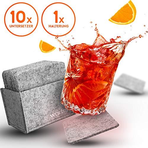 wortek Filz Untersetzer Quadratisch in Grau - Deko Tischset mit Aufbewahrungsbox - waschbare Design Filzuntersetzer Gläser, Tassen, Tisch, Bar - Premium Tisch Untersetzer-Set 10er Set 10 cm
