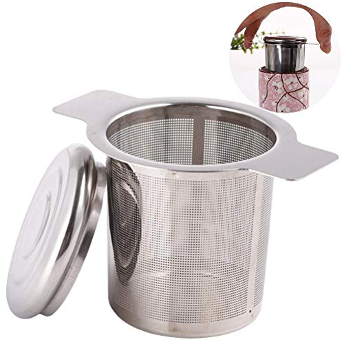 WINBST Filtro de té, colador de té para té suelto con tapa y doble asa, acero inoxidable 304, diseño de mango no tóxico, apto para la mayoría de tazas de té de 0,5 mm por agujero