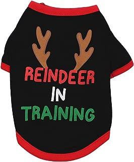 Christmas Pet Outfit Dog Cat Puppy Elk Print Xmas Clothes Costume Warm Dog Vest Apparel M