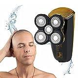 LALAK Afeitadora Hombres Calva,2 En 1 Recortador De Barba 5 Afeitadora Rotatoria Principal IPX7 Impermeable con El Indicador De Carga USB Recargable