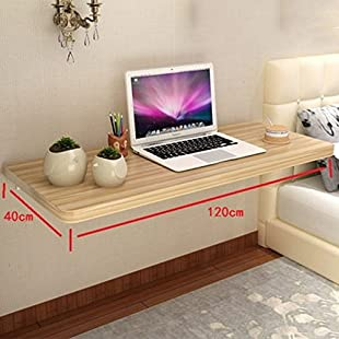 NAN Folding Wall-mounted Drop-leaf Table, Computer Desk Children Table Desk, Kitchen Dining Table, Peach colorr (Various (Size  120cm):Amedama