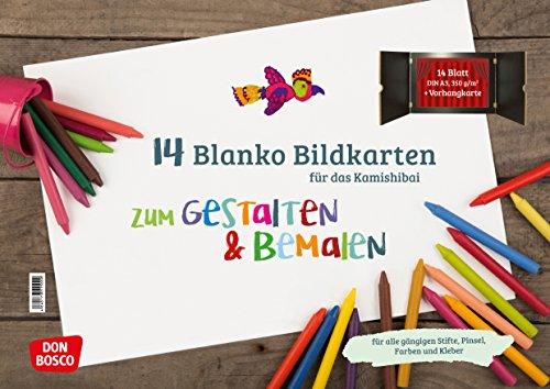 14 blanko Bildkarten zum Gestalten & Bemalen für das Kamishibai (Zubehör für das Erzähltheater Kamishibai)