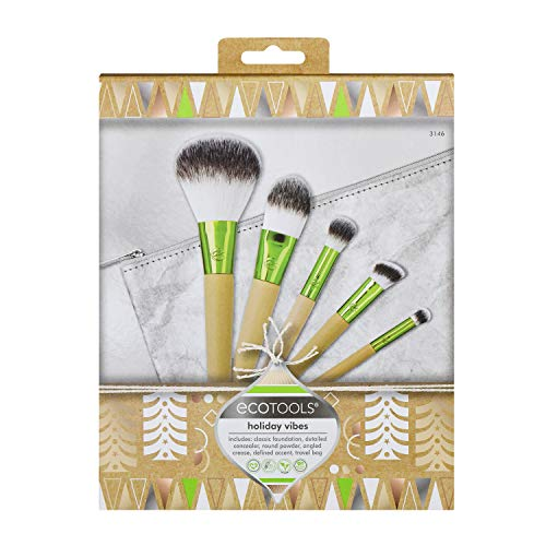EcoTools Holiday Vibes Makeup Brush Gift Set with Travel Brush Bag, Stocking Stuffer, Set of 6