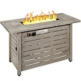 Best Choice Products Fire Pit Table 42in 50,000 BTU Rectangular Steel Propane Gas for Outdoor, Patio w/Burner Lid, Auto Ignition, Hideaway Tank Storage, Cover, Glass Beads - Gray