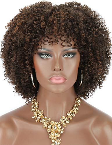 """Kalyss 8"""" Short Kinky Curly Wigs for Women Brown Highlights Premium Synthetic Afro Wigs with Hair Bangs Natural Curls Wigs for Women,Bouncy Full and Natural Looking 150% Density"""