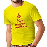 T-Shirt pour Hommes Gardez Le Calme Que Vous êtes Franc-maçon la Symbolique maconnique Signes (Large Jaune Rouge)