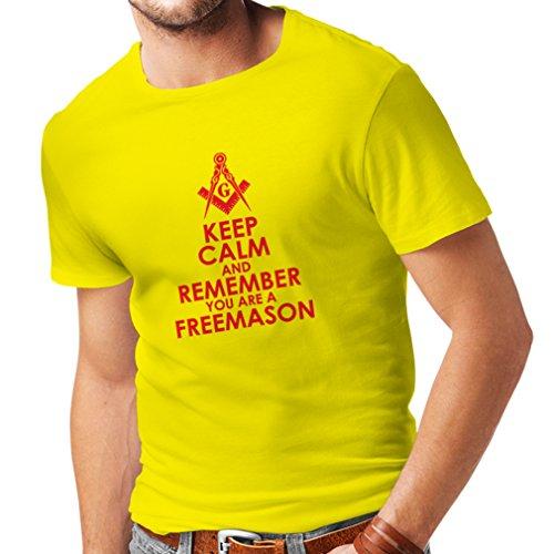 Männer T-Shirt Denken Sie daran, DASS Sie EIN Freimaurer sind - Masonic Winkel und Zirkel (XX-Large Gelb Rote)