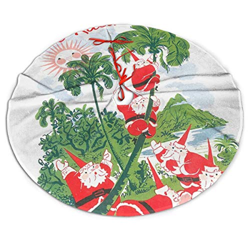 Mele Kalikimaka Palm Tree Christmas Hawaii Beach Themed Round Christmas Xmas Tree Skirt Carpet Mat Rugs Pad Party Favors Supplies Home Ornament Decoration 30 36 48 Inch Small Big Giant Large
