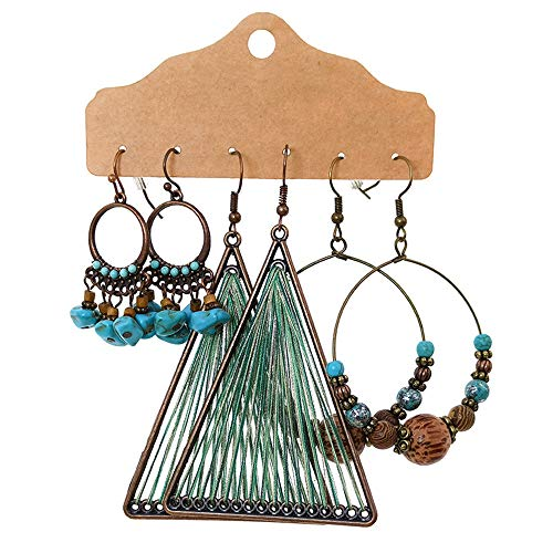 3 Pairs Bohemian Earrings Vintage Retro Rhinestone Dangle Drop Earring,Alloy Boho Drop Dangle Earrings for Women Girls Gifts (A)