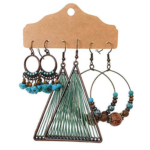 3 pares de pendientes bohemios Vintage Retro con diamantes de imitación pendientes colgantes, pendientes de aleación Boho colgantes para mujeres y niñas regalos (A)