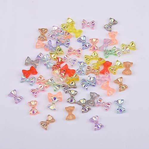 120pcs Nail Art Decoration Resin Color 3d Bows Flatback Cabochon Children Jewelry DIY Supplies