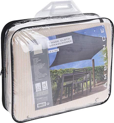 Smart Planet® Voile d'ombrage de qualité supérieure - Couleur crème - Carré - Perméable au vent - Stabilisé aux UV - 3 x 3 m